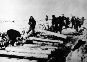 Вязні Севжелдорлага будуюць чыгунку Котлас-Кожва, 1940 г. Фота gulagmuseum.org