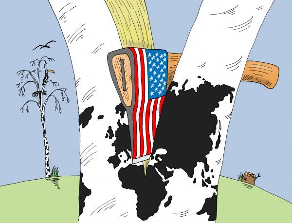 Валер Тарасенка, «Сімвал. Разбуральны ўплыў Амерыкі на мір паміж Усходам ды Захадам», 2015 (папера, лінер, фаташоп)