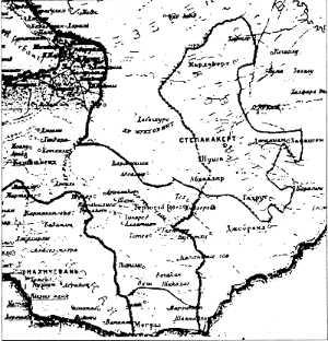 Нагорна-Карабахская аўтаномія мяжуе з савецкай Арменіяй на мапе 1926 г.