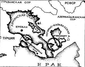 Нагорны Карабах адрэзаны ад Арменіі Лачынскім калідорам на мапе 1930 г.