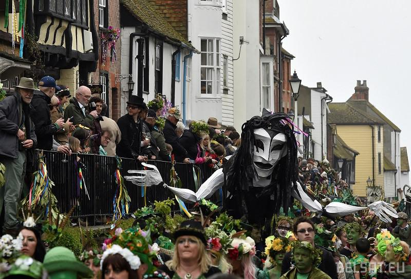 Participants take part in the annual Jack In The Green parade involving hundreds of costumed revellers joining a four hour procession culminating in the traditional 'slaying' of a Jack character to 'unleash the spirit of summer' on the May Day week end, in Hastings, southern Britain, May 2 , 2016. REUTERS/Toby Melville