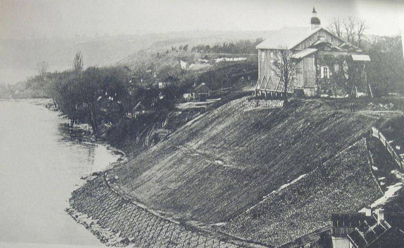 Каложская царква ў 1897 годзе. Выгляд з боку Старога замка