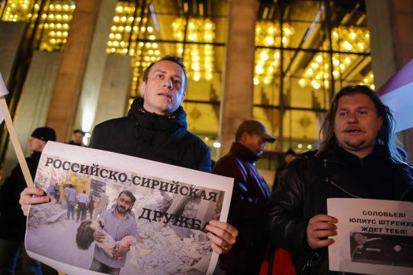 Мітынгоўцы на акцыі супраць прыезду Салаўёва