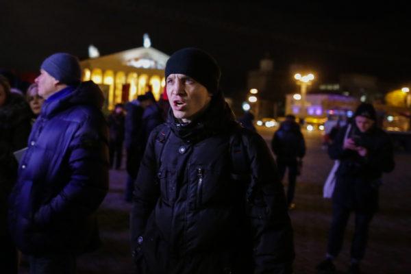 Зміцер Дашкевіч на акцыі супраць прыезду Салаўёва