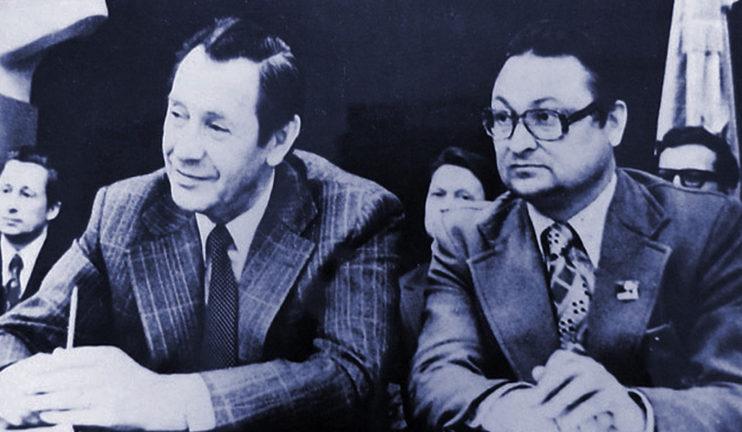 На фота, з права на лева: Пятро Машэраў, Генадзь Бураўкін